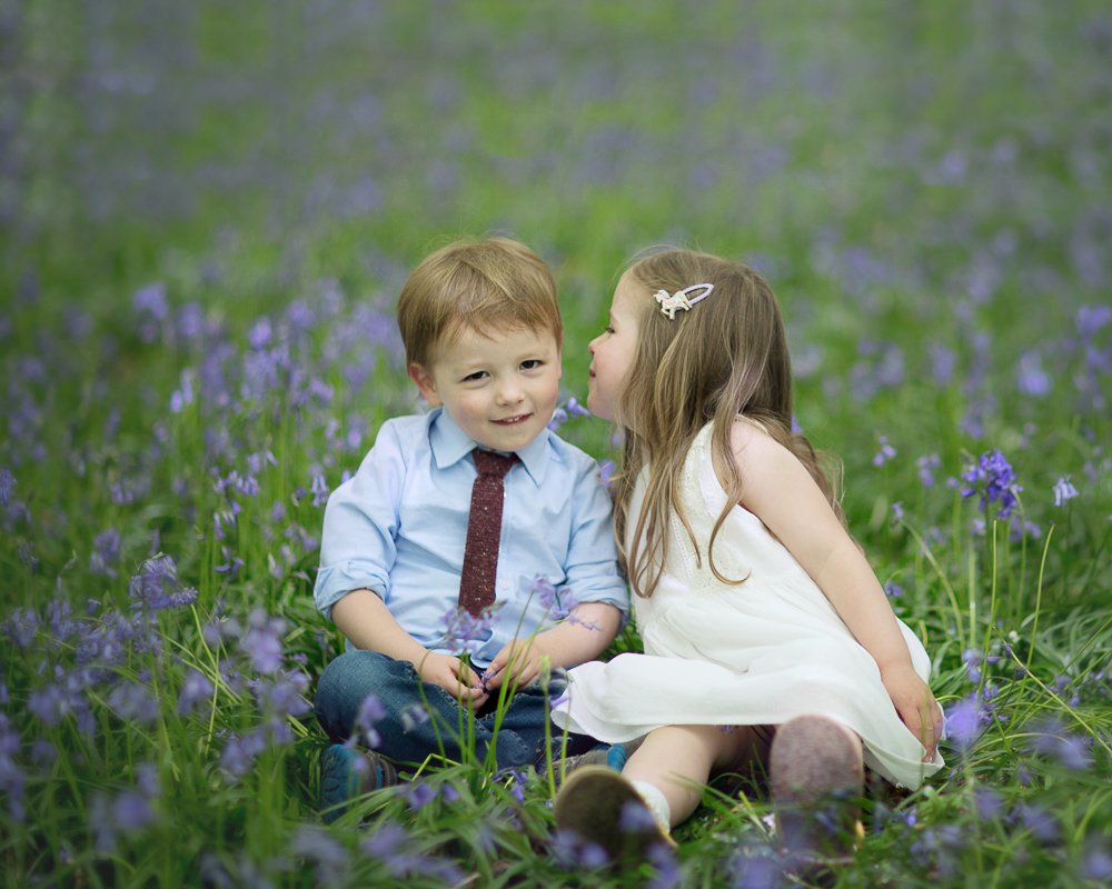 children in the bluebells